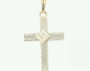 Cross Pendant - 10k Yellow Gold Diamond Accent Religious Women's Q9690