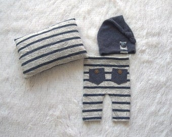 NEW-Baby Photography Props-Three Pieces Stripe Boy Set-Newborn Photo Prop Sets-Newborn Posing Pillow-Baby Pants and Sleepers Hat