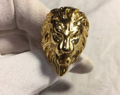Vintage 1980's Gothic Gold Finished Lion Head Men's Ring