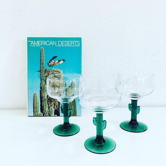Set of (3) Vintage Green Cactus Margarita Glasses Boho Cactus Glassware Southwestern Decor