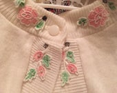 50s 60s girls or womans sweater or shrug foral appliques pearls rhinestones so cute!