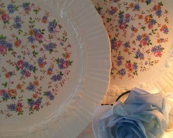 Beautiful Homer Laughlin Coronet dinner plates 1940s production calico floral center pretty to hang on wall or add to collection
