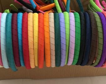 10mm wrapped grosgrain ribbon headband diy, use 10mm plastic headband and 9mm grosgrain ribbon, 30 colors to choose, ribbon baby headband
