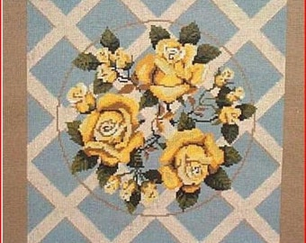 Yellow Roses & Lattice Work Needlepoint Canvas
