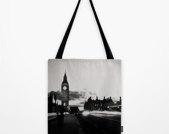 tote bag market tote London photograph photo bag book bag London print black and white photography big ben photograph