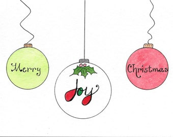 Ornaments Christmas Card Joy Card Watercolor Illustrated Ornament Card Christmas Card for Joy Christmas Birthday Card PERSONALIZED for FREE