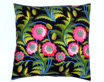 Decorative Pillow Covers. Set of Two 16x16. Black, pink, blue, green and yellow Jane Sassaman Early Birds fabric
