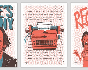 The Shining Silkscreen Post Cards by Ian Glaubinger inspired by Stanely Kubrick All Work & No Play