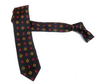 Vintage 1950s 1960s Mod Skinny SILK Neck Tie - Black Red Gold Blue Geometric Diamond Circles. Tie Mid century modern Retro necktie menswear