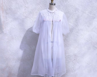 60s Sheer Robe, White Nylon and Lace Vintage Lingerie, Pin Up Bathrobe,