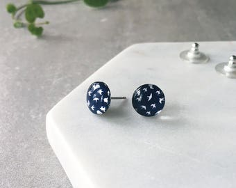 Rockabilly swallows birds navy blue - small Glass stud post earrings - Hypoallergenic post earrings