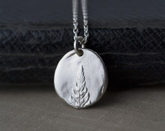 Fern Necklace Botanical Jewelry, Gift for Women, Leaf Silver Necklace, Womens Gift for Her, Woodland Jewelry by Burnish