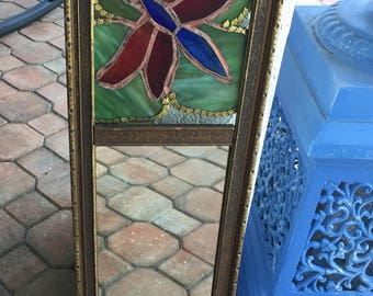 Art Nouveau Carved Wood Mirror Dragonfly Stained Glass Window