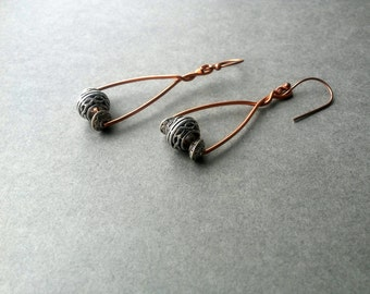 Mixed Metal Jewelry, Handmade Copper and Silver Earrings, Mixed Metal Earrings,  Geometric Earrings, Drop Dangle Earrings,etched bali accent