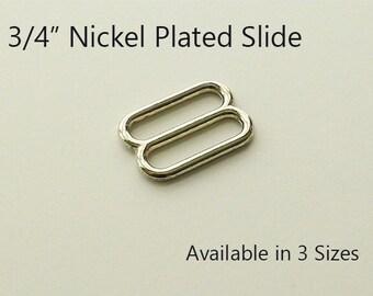 Dog Collar Hardware Supplies, Hardware for Dog Collars, Dog Collar Hardware - 10 Nickel Plated Slides