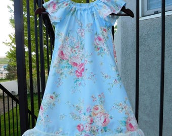 Feminine Shabby chic baby blue rose, ivory flowers designer fabric peasant dress, lace baby, toddler, girls, tweens  3m - 12 flower girl