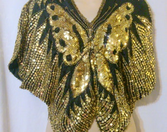 Vintage VALACHI CREATIONS Gold Sequin Black Silk Butterfly Top Size Small