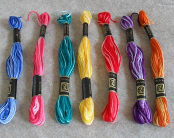 Embroidery Floss multicolor shades of blue, red, pink, green, purple, yellow, orange DIY project