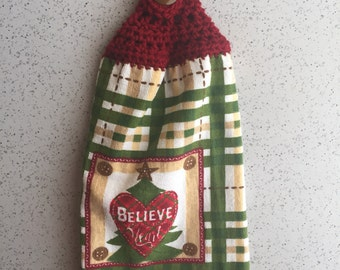 Hanging Towel Kitchen Towel Crochet Topper Red Green Plaid Cream