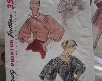 Vintage Sewing Pattern 1950s Button Front Blouse Shirt Full Sleeves