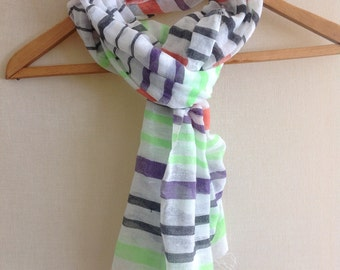 Gauze Cotton light & Large scarf in Green orange Black- women's scarf multicolored- Ethiopian Scarf Cotton - Gift for her