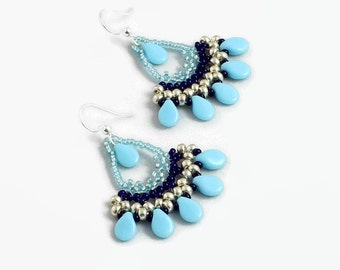 Blue Fan Earrings - Beaded Jewelry - Seed Bead Chandelier Earrings - Handmade Jewelry - Lightweight Dangle Earrings