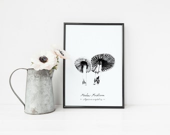"Meadow Mushrooms Print | 8"" x 10"" Illustration 