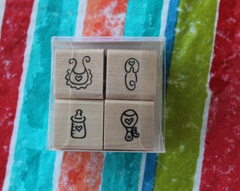Set 4 Small Baby Shower/Announcement Stamps Petit Fours from Denami Designs
