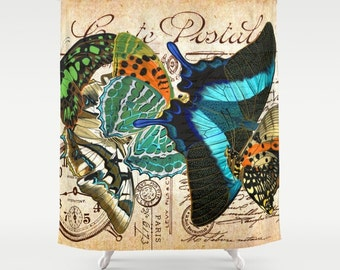 Alte Ansichtskarte Schmetterling Duschvorhang, Vintage Badezimmer, Retro Bad,  Blau, Türkis, Orange