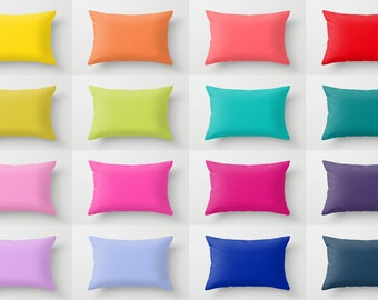 Solid Color Lumbar Pillow, Rectangular Pillow, 16 Bright Color Options, Cushion, Toss, Simple, Modern Bedding, Basic Minimalist, Vivid, Bold