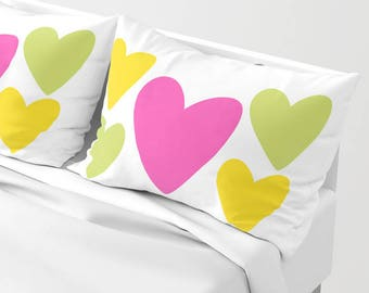 HEARTS Pillow Sham standard or king SET OF 2, Romantic White Yellow Fuchsia Pink Green Modern Teen Bedding Bright vivid colors Love Marriage