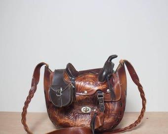 50% OFF SALE Vintage Novelty Tooled Leather Saddle Bag Lucky Horseshoe Detailing