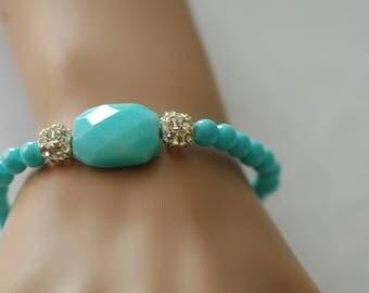 Turquoise Bracelet, Stretch Bracelet, Crystal Beads, Gift for her, Summer bracelet, Mother's day gift, Beaded bracelet