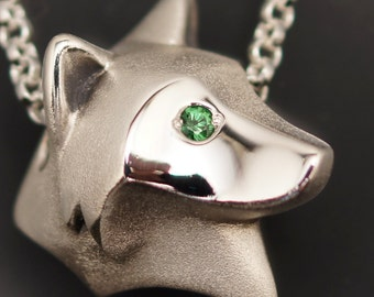 shaggy wolf  silver pendant.   pick your eye color