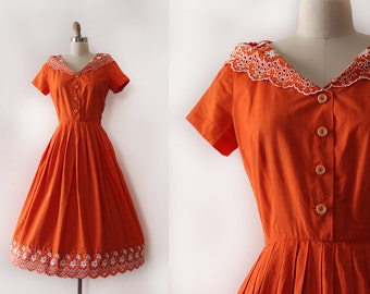vintage 1950s Jerry Gilden dress // 50s orange cotton day dress