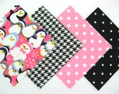 """Quilt Square Clearance Grab Bag 50 - 6""""x6"""" Flannel Squares in Fun Pink Penguin and Matching Prints"""