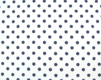 Flannel Fabric by the Yard in a White with Navy Blue Dot Print 1 Yard