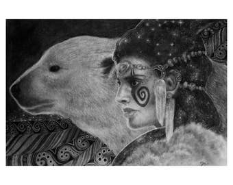 Polar Bear Totem Art and Warrior Woman Mythic Art in Charcoal