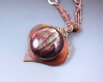 Red Labradorite- Rainbow Patina- Abstract Design- Metal Art- Copper Pendant- One of a Kind- Labradorite Necklace