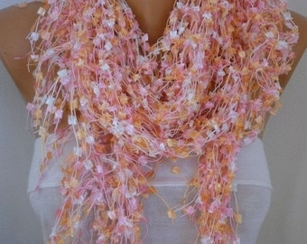 ON SALE --- Pink Crochet Scarf Fall Winter Accessories,Formal Shawl Cowl Scarf Gift Ideas For Her Women Fashion Accessories ,Bridal Scarf