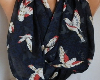 ON SALE --- Birds Print Infinity Scarf Christmas Gift  Animal Scarf Cowl Scarf  Gift Ideas For Her Women's Fashion Accessories