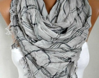 ON SALE --- Gray & Pink Cotton Tartan Scarf, So Soft,Fall Shawl, Oversize Plaid Cowl Bridesmaids Gift Gift Ideas For Her Women Fashion Acces