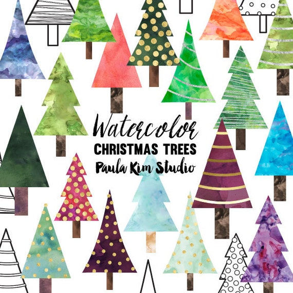 Wedding Tree Watercolor Clipart: Watercolor Christmas Tree Clipart Commercial Use Clip Art