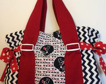 NFL Houston Texans tote. Blue, red and white tote. Made to order