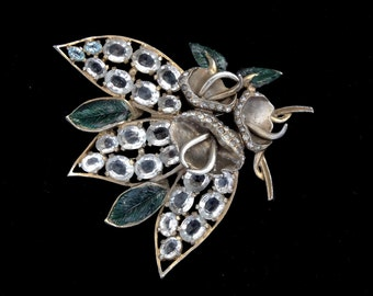 Massive Vintage 1940's EISENBERG ORIGINAL Clear Crystal Rhinestone Fur Clip Brooch Ruth Kamke BOOK Piece!