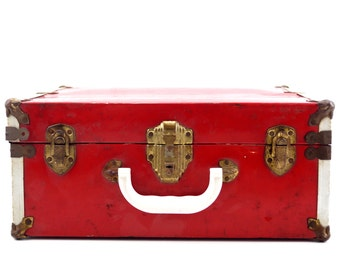 Vintage Metal Roller Skate Case in Red (c.1950s) - Unique Storage Box, Home Decor, Office Decor
