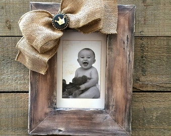 Baby Frame First Christmas Bow CROWN Personalize NAME Jewel Holiday Gift Wood Rustic Burlap