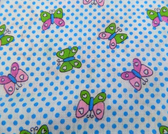 Butterfly Print Fabric ... Vintage 1970s Cotton Fabric Remnant ... Novelty Print ...  Small Print Butterflies on Polka Dots ... 1 1/2 Yards