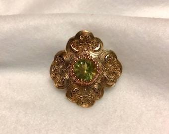 Handcrafted Bronze Pendant with Natural Lemon Quartz gemstone. 10.5 Carats