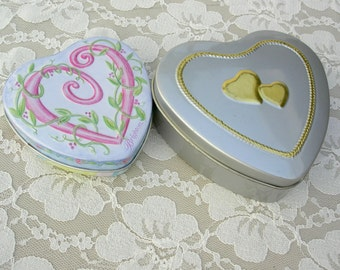 Heart Candy Tins, larger silver one - gold hearts, smaller blue one - pink heart and green floral design, vintage, Valentine candy gift tin